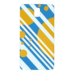 Blue, yellow and white lines and circles Samsung Galaxy Note 3 N9005 Hardshell Back Case