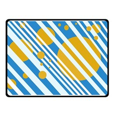 Blue, yellow and white lines and circles Double Sided Fleece Blanket (Small)