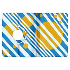 Blue, yellow and white lines and circles Kindle Fire HDX Flip 360 Case
