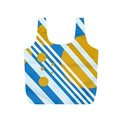 Blue, Yellow And White Lines And Circles Full Print Recycle Bags (s)