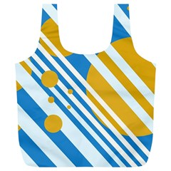 Blue, yellow and white lines and circles Full Print Recycle Bags (L)