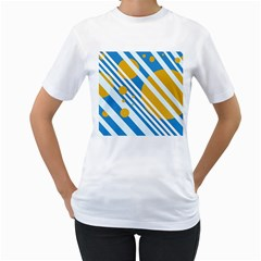 Blue, yellow and white lines and circles Women s T-Shirt (White)