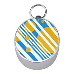 Blue, yellow and white lines and circles Mini Silver Compasses