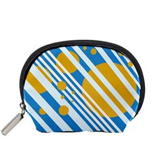 Blue, yellow and white lines and circles Accessory Pouches (Small)