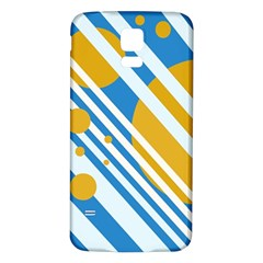 Blue, yellow and white lines and circles Samsung Galaxy S5 Back Case (White)