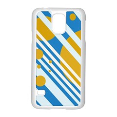 Blue, yellow and white lines and circles Samsung Galaxy S5 Case (White)