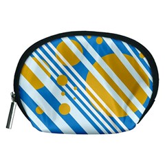 Blue, yellow and white lines and circles Accessory Pouches (Medium)