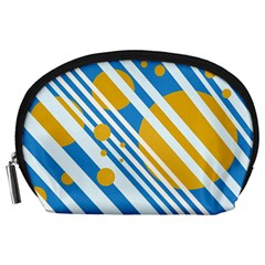 Blue, yellow and white lines and circles Accessory Pouches (Large)