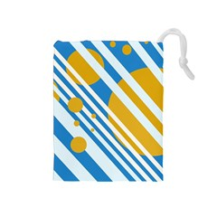 Blue, yellow and white lines and circles Drawstring Pouches (Medium)