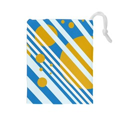 Blue, yellow and white lines and circles Drawstring Pouches (Large)
