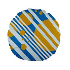 Blue, yellow and white lines and circles Standard 15  Premium Flano Round Cushions