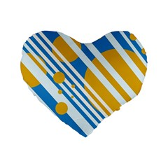 Blue, yellow and white lines and circles Standard 16  Premium Flano Heart Shape Cushions