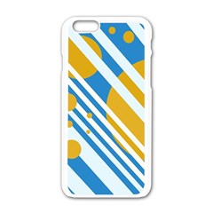 Blue, yellow and white lines and circles Apple iPhone 6/6S White Enamel Case