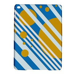 Blue, yellow and white lines and circles iPad Air 2 Hardshell Cases