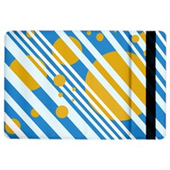 Blue, yellow and white lines and circles iPad Air 2 Flip
