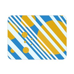 Blue, yellow and white lines and circles Double Sided Flano Blanket (Mini)