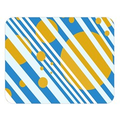 Blue, yellow and white lines and circles Double Sided Flano Blanket (Large)