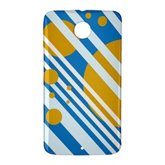 Blue, yellow and white lines and circles Nexus 6 Case (White)