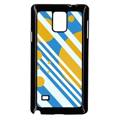 Blue, yellow and white lines and circles Samsung Galaxy Note 4 Case (Black)