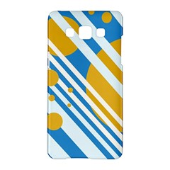 Blue, yellow and white lines and circles Samsung Galaxy A5 Hardshell Case