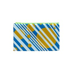 Blue, yellow and white lines and circles Cosmetic Bag (XS)