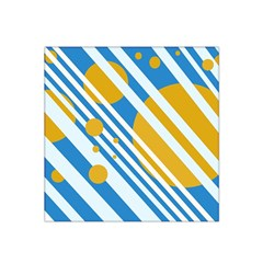 Blue, yellow and white lines and circles Satin Bandana Scarf