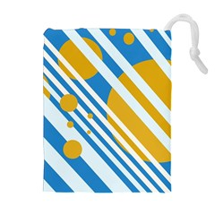 Blue, yellow and white lines and circles Drawstring Pouches (Extra Large)