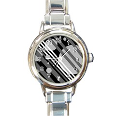 Gray lines and circles Round Italian Charm Watch