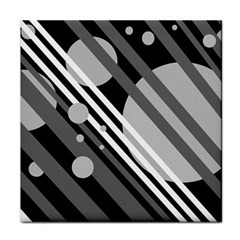Gray lines and circles Tile Coasters