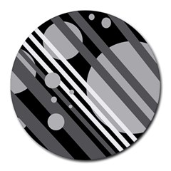 Gray lines and circles Round Mousepads