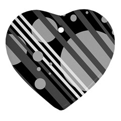 Gray lines and circles Ornament (Heart)