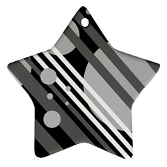 Gray lines and circles Ornament (Star)