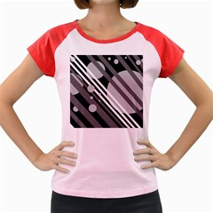 Gray lines and circles Women s Cap Sleeve T-Shirt