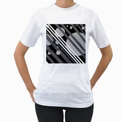 Gray lines and circles Women s T-Shirt (White) (Two Sided)