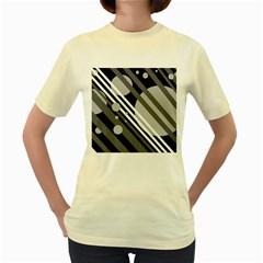 Gray lines and circles Women s Yellow T-Shirt