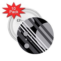 Gray lines and circles 2.25  Buttons (10 pack)