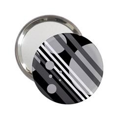 Gray lines and circles 2.25  Handbag Mirrors