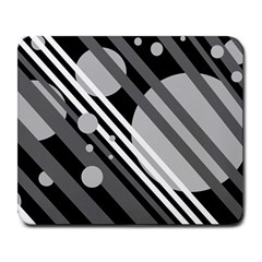 Gray lines and circles Large Mousepads