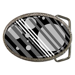 Gray lines and circles Belt Buckles