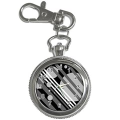 Gray lines and circles Key Chain Watches