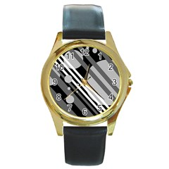 Gray lines and circles Round Gold Metal Watch