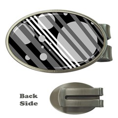 Gray lines and circles Money Clips (Oval)