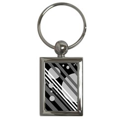 Gray lines and circles Key Chains (Rectangle)
