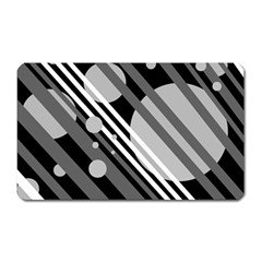 Gray lines and circles Magnet (Rectangular)