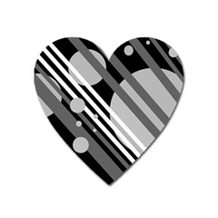 Gray lines and circles Heart Magnet