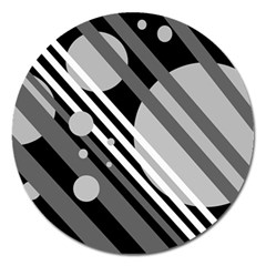 Gray lines and circles Magnet 5  (Round)