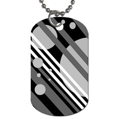Gray lines and circles Dog Tag (One Side)
