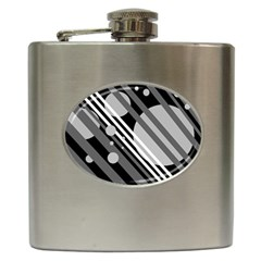 Gray lines and circles Hip Flask (6 oz)