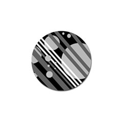 Gray lines and circles Golf Ball Marker (4 pack)