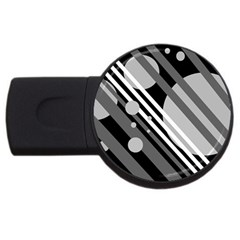 Gray lines and circles USB Flash Drive Round (1 GB)
